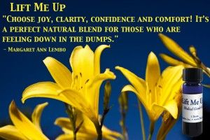 Choose Joy, clarity, confidence and comfort! It's a perfect natural blend for those who are feeling down in the dumps.Lift Me Up Essential Oil Affirmation by Margaret Ann Lembo