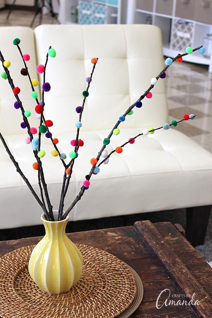 Pom Pom Branches: sticks, twigs, pom poms, vase
