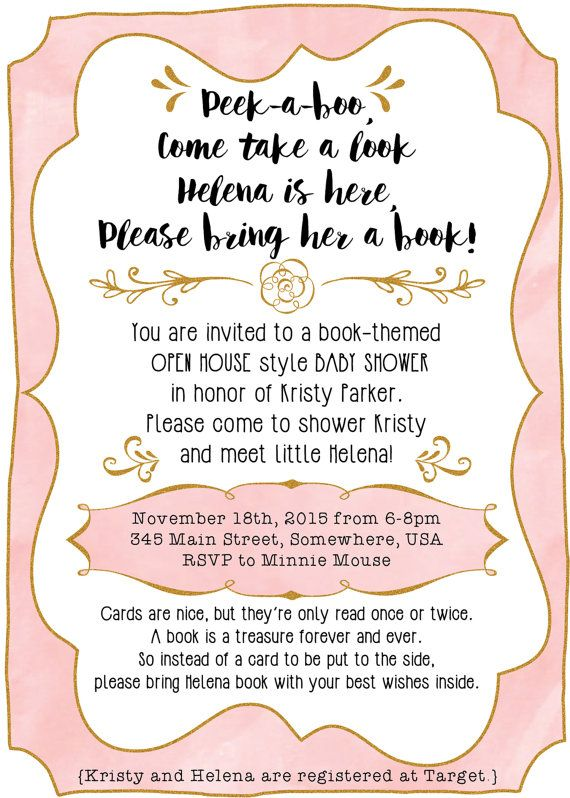 After Baby Is Born Baby Shower Invitation With A Book Theme Pink