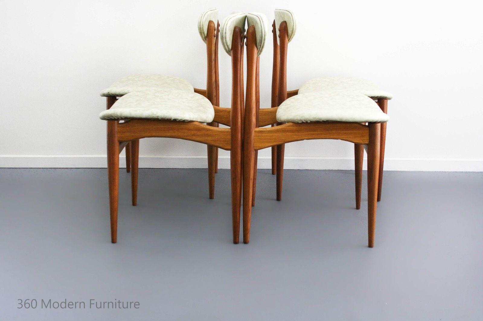 mid century chatley teak dining chairs x 4 vintage retro danish