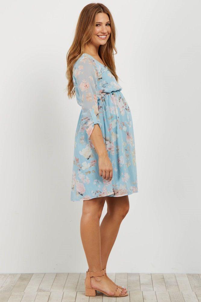 026224a311ec5 Light Pink Floral Chiffon 3/4 Sleeve Maternity Dress   Maternity ...