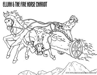 Elijah Elisha And The Chariot Of Fire Bible Coloring Pages