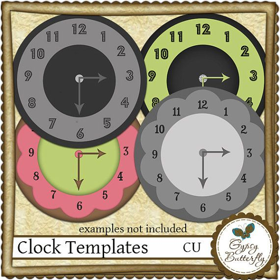 Commercial Use clock templates, digital scrapbooking - Instant - clock templates