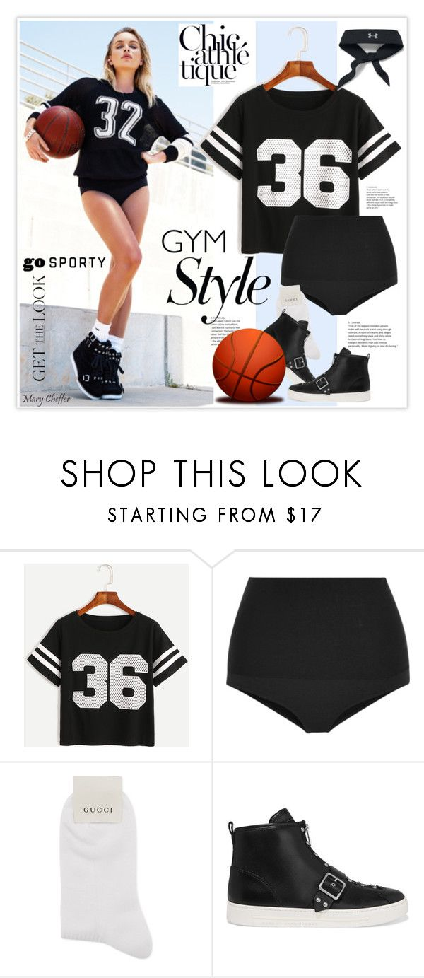 """""""Work It Out: Chic athletique"""" by mcheffer ❤ liked on Polyvore featuring Lovers + Friends, WithChic, Eres, Gucci, Marc by Marc Jacobs, Under Armour and gymessentials"""
