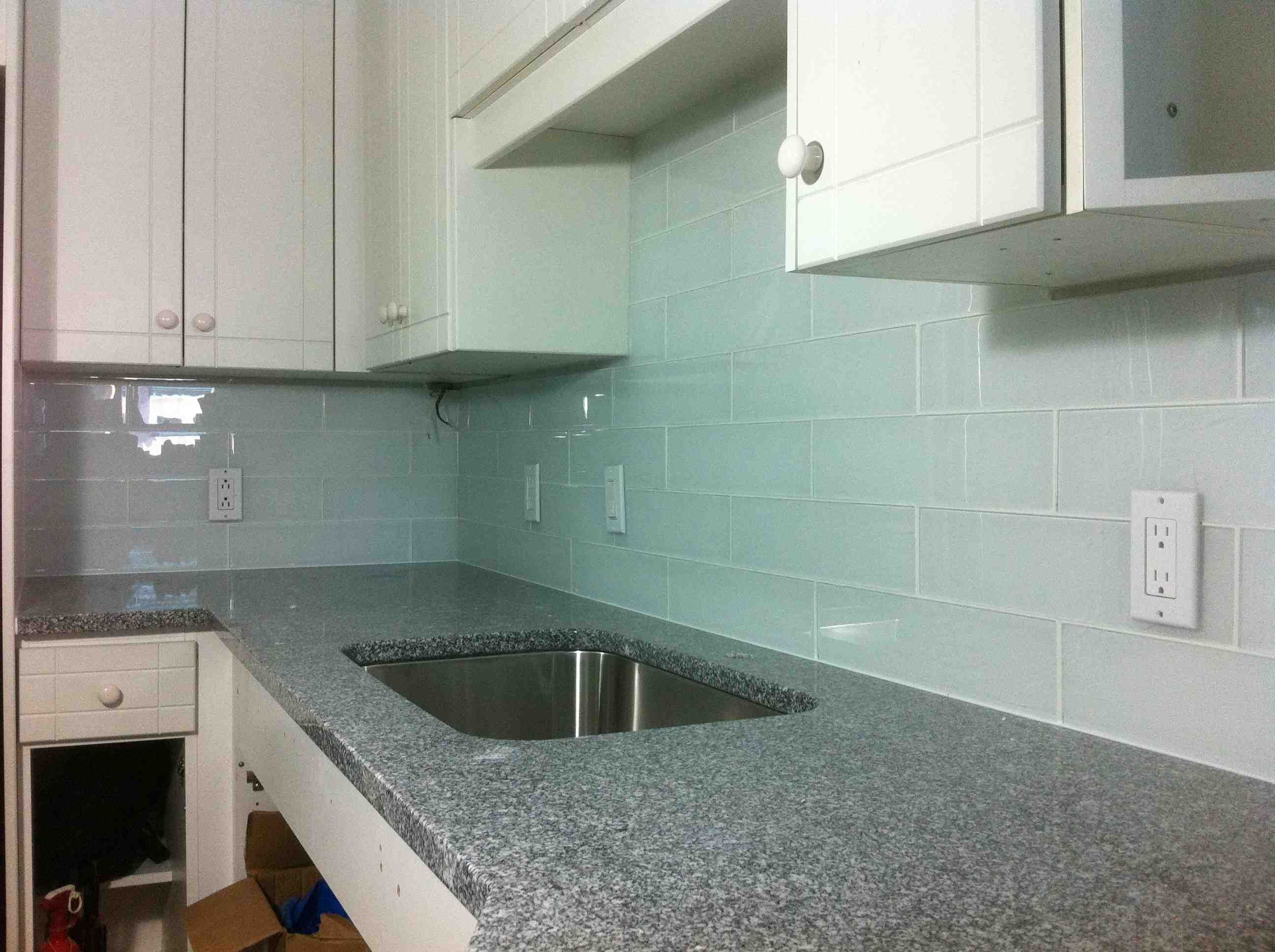 Large White Frosted Glass Tile Backsplash By Stepping
