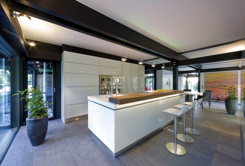 huf fertighaus fachwerkhaus küche mit kochinsel und tresen ... - Kochinsel Design