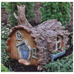 Fairy Gardening Log House Fairy Home (00693061164332) 6 long part of the Fiddlehead village collection fine detail sculpting hand painted weather resistant finish