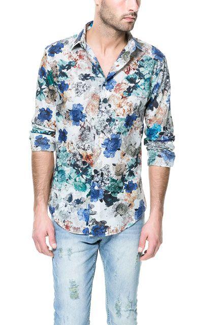 Heren Overhemd Bloemenprint.Overhemd Met Bloemenprint Casual Overhemden Heren Zara