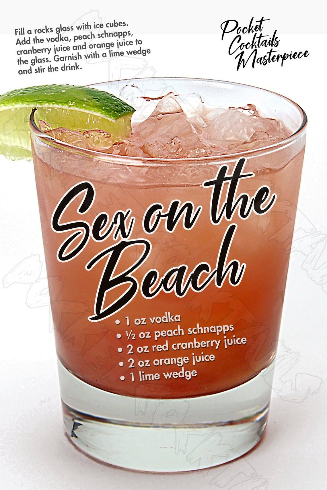 12x18 Sex on the Beach Cocktail Masterpiece Poster