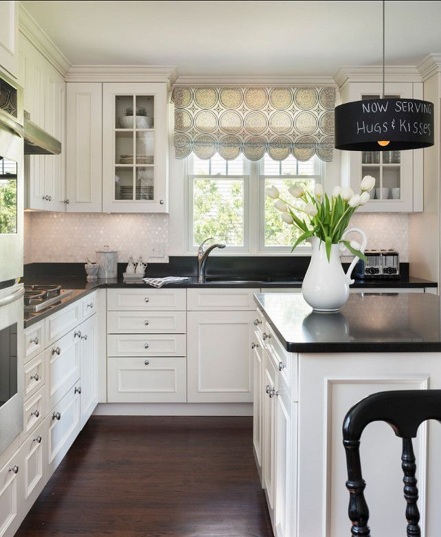 Kitchen With White Cabinets Black Countertops: Simple But Elegant #kitchen #home