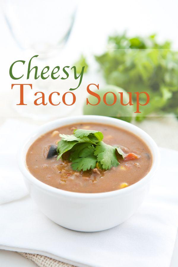 Cheesy Taco Soup by EclecticRecipes.com #recipe