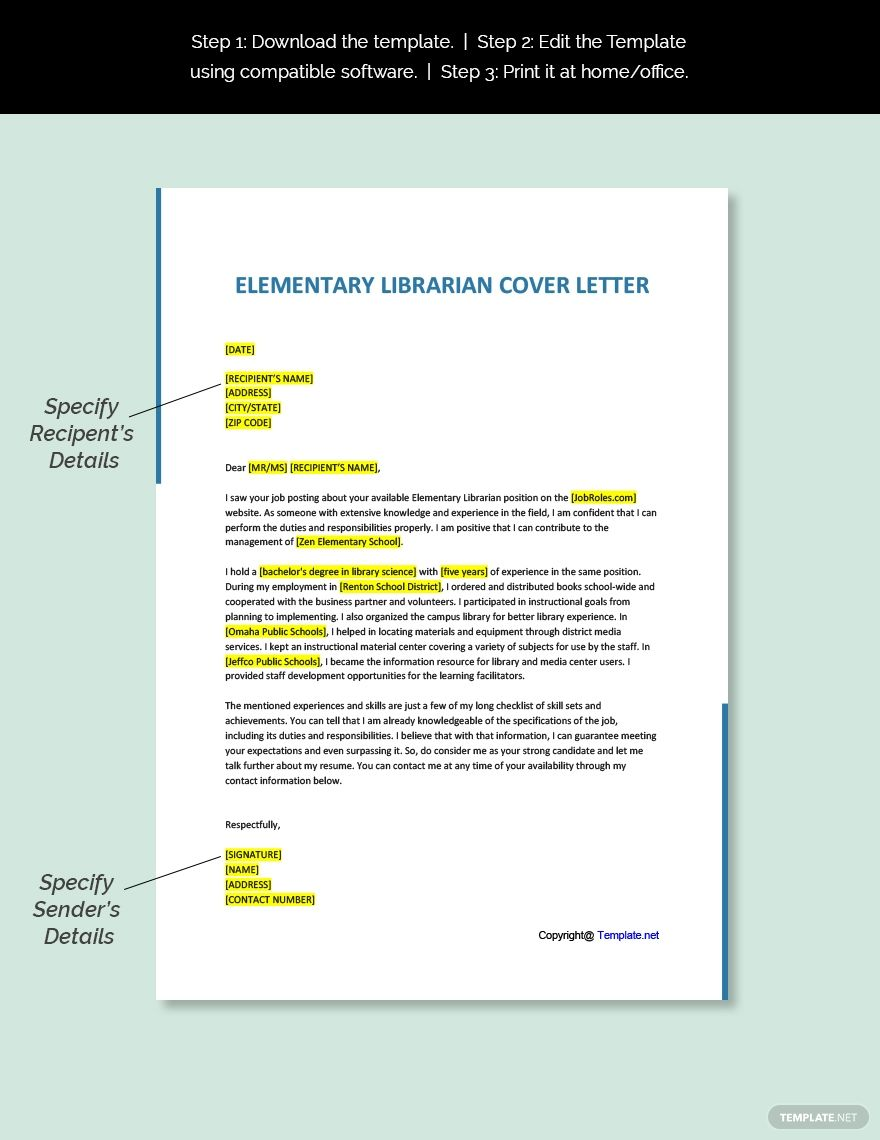 Free Elementary Librarian Cover Letter Template in 2020