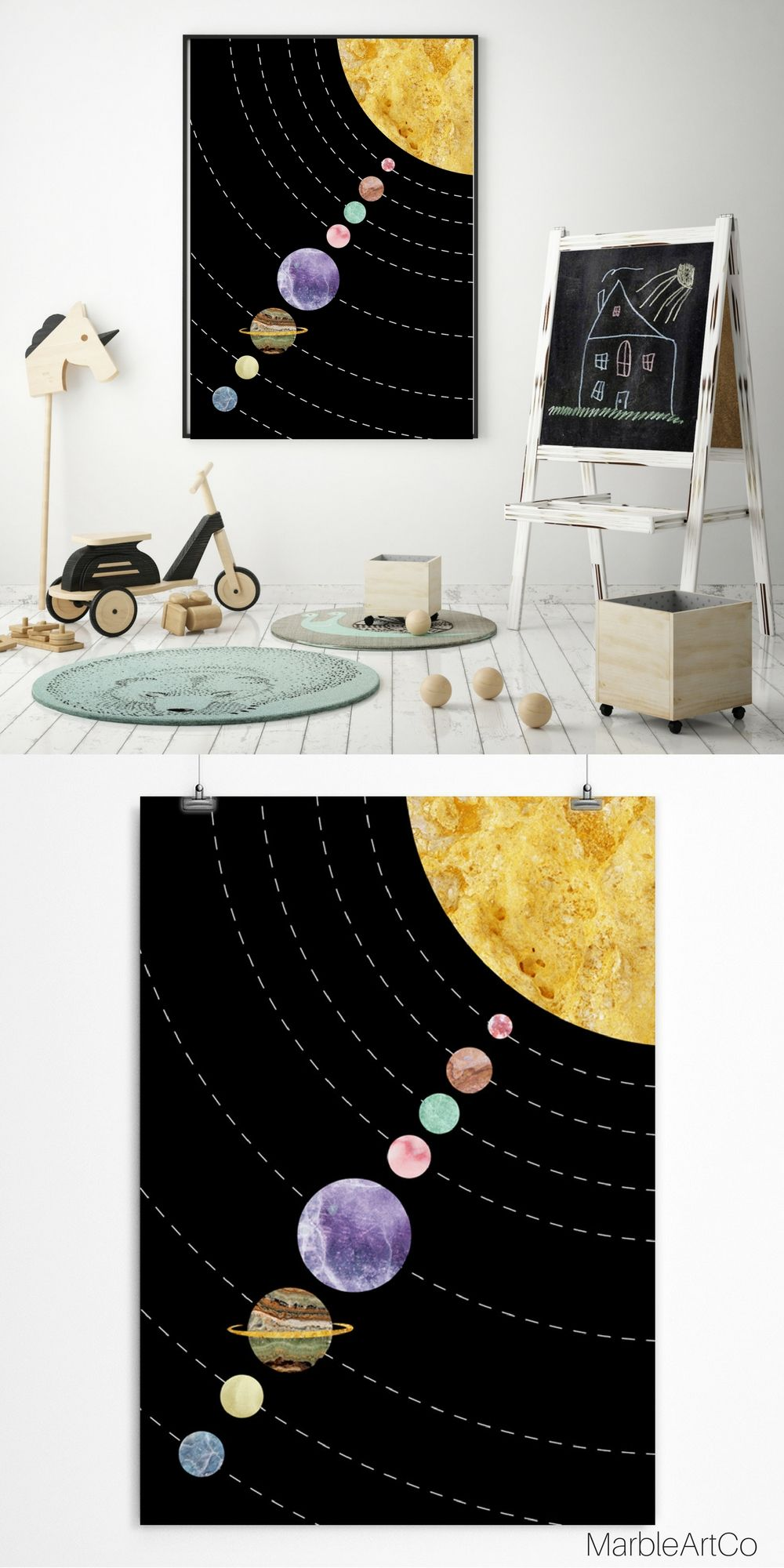 The Solar System Poster Created Using A Grandiose Marble Textures And Is A  Gorgeous Decoration For Kids Room And For A Housewarming Gifts.