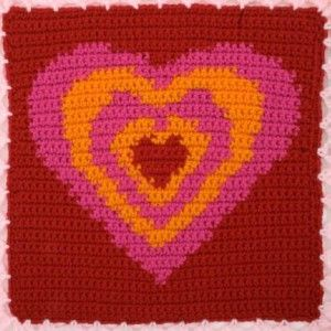 Psychedelic Heart Square from the Heart Squares Afghan. Free Pattern