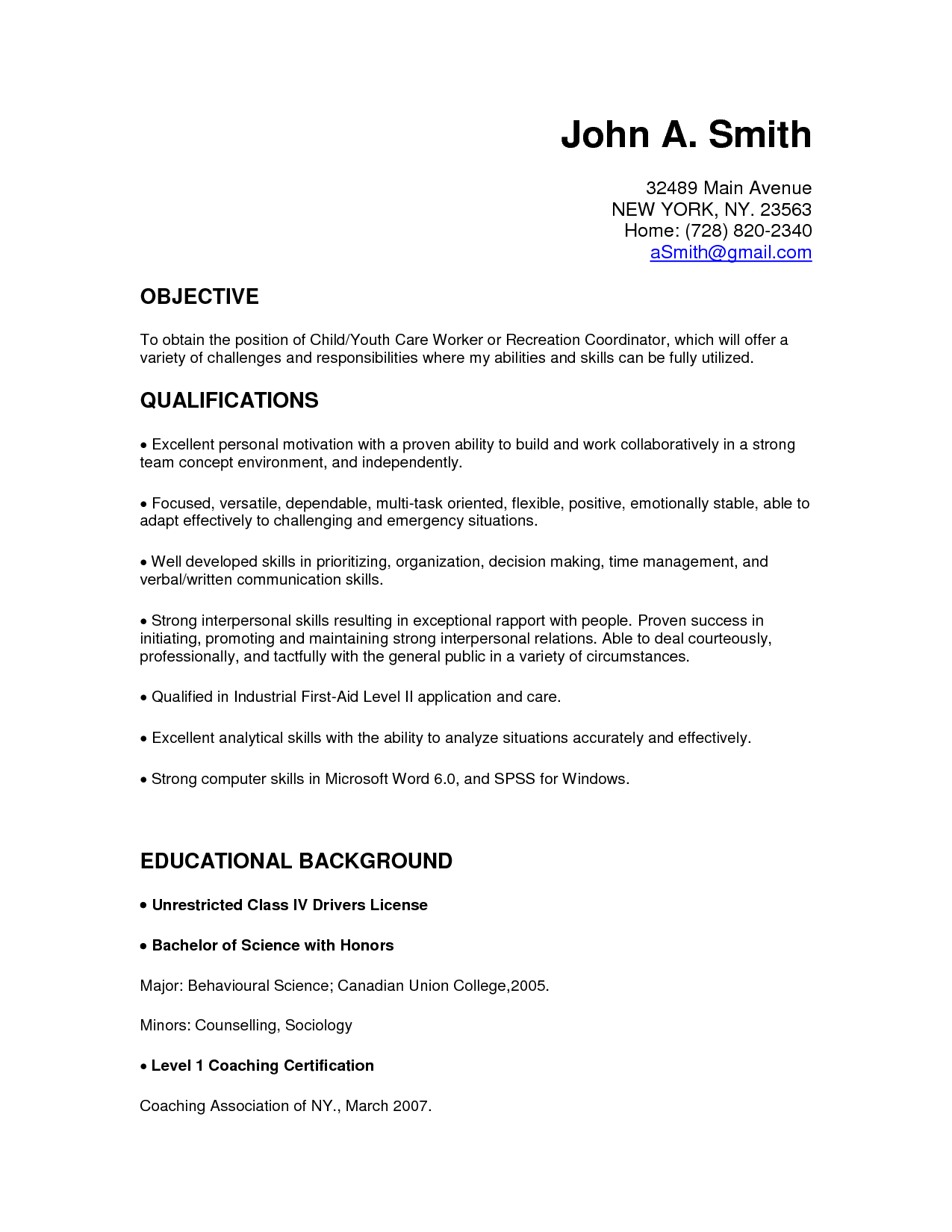 cover letter childcare