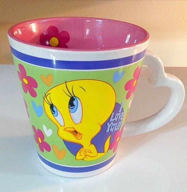 LOONEY TUNES Tweety Bird Coffee Mug I LOVE YOU heart Shaped Handle