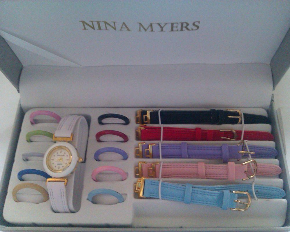 LADIES GIRLS Fashion WATCH SET Multi colour Interchangeable 6 Straps   11  Bezels by Nina Myers 43b57c23f565