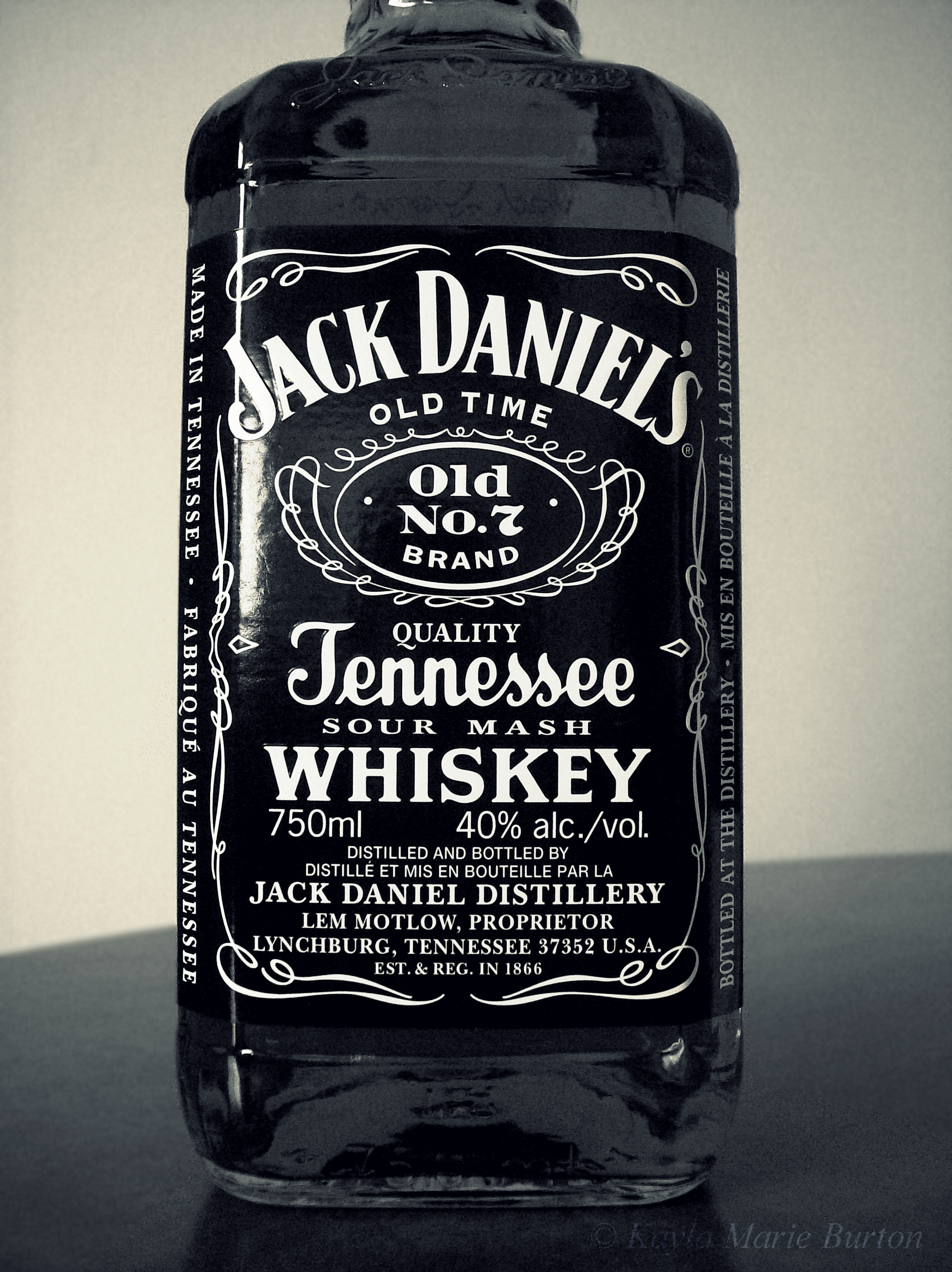 Jack Daniel s Tennessee Whiskey Taken by me Black and white graphy