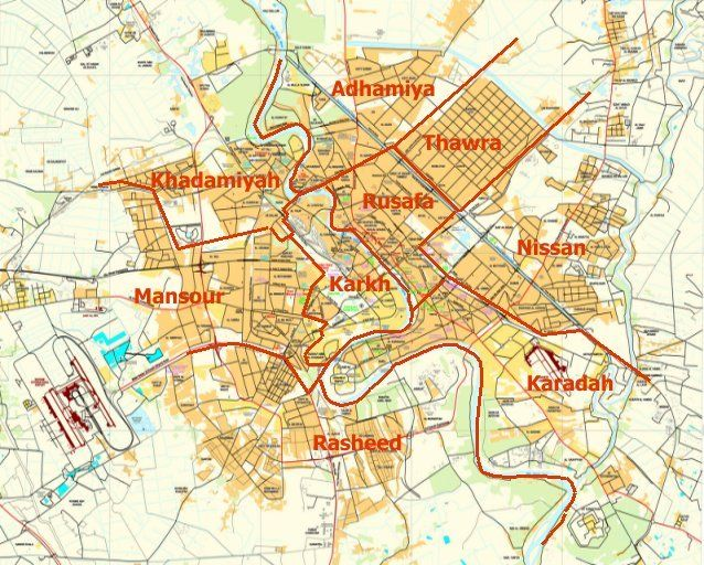 Baghdad District Map Remembering Baghdad Pinterest Baghdad - Baghdad map world
