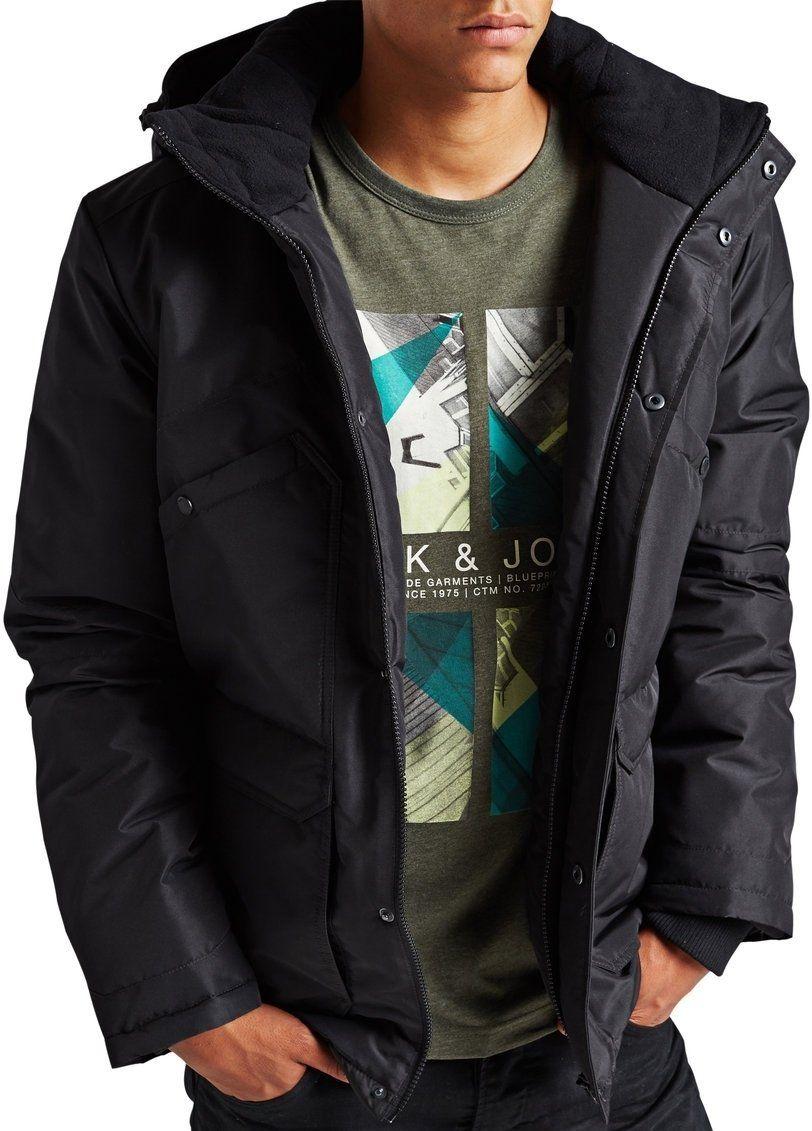 Jack Jones Hale Short Hooded Padded Parka Jacket Black Xxl 44 46in Amazon Co Uk Clothing