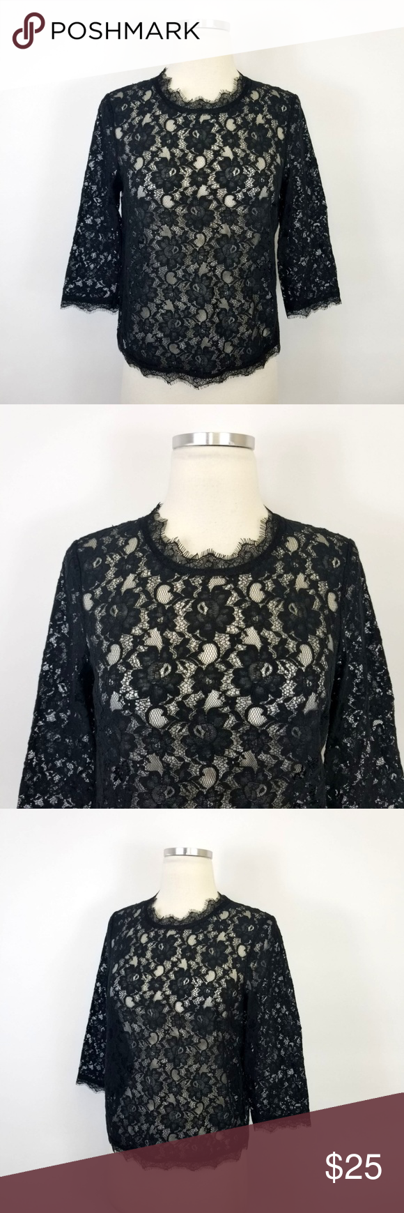 620e345c0e2c1 Talbots Black Floral Lace Top Talbots black floral lace 3 4 sleeve top.  This is sheer. Needs a tank underneath. Size 6P (SKU R25) Gently used and  clean.