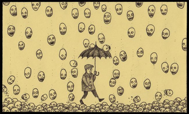 john kenn mortensen gives us a glimpse into a creepy yet curiously beautiful world of monsters through his post it drawings these fun drawings almost poke
