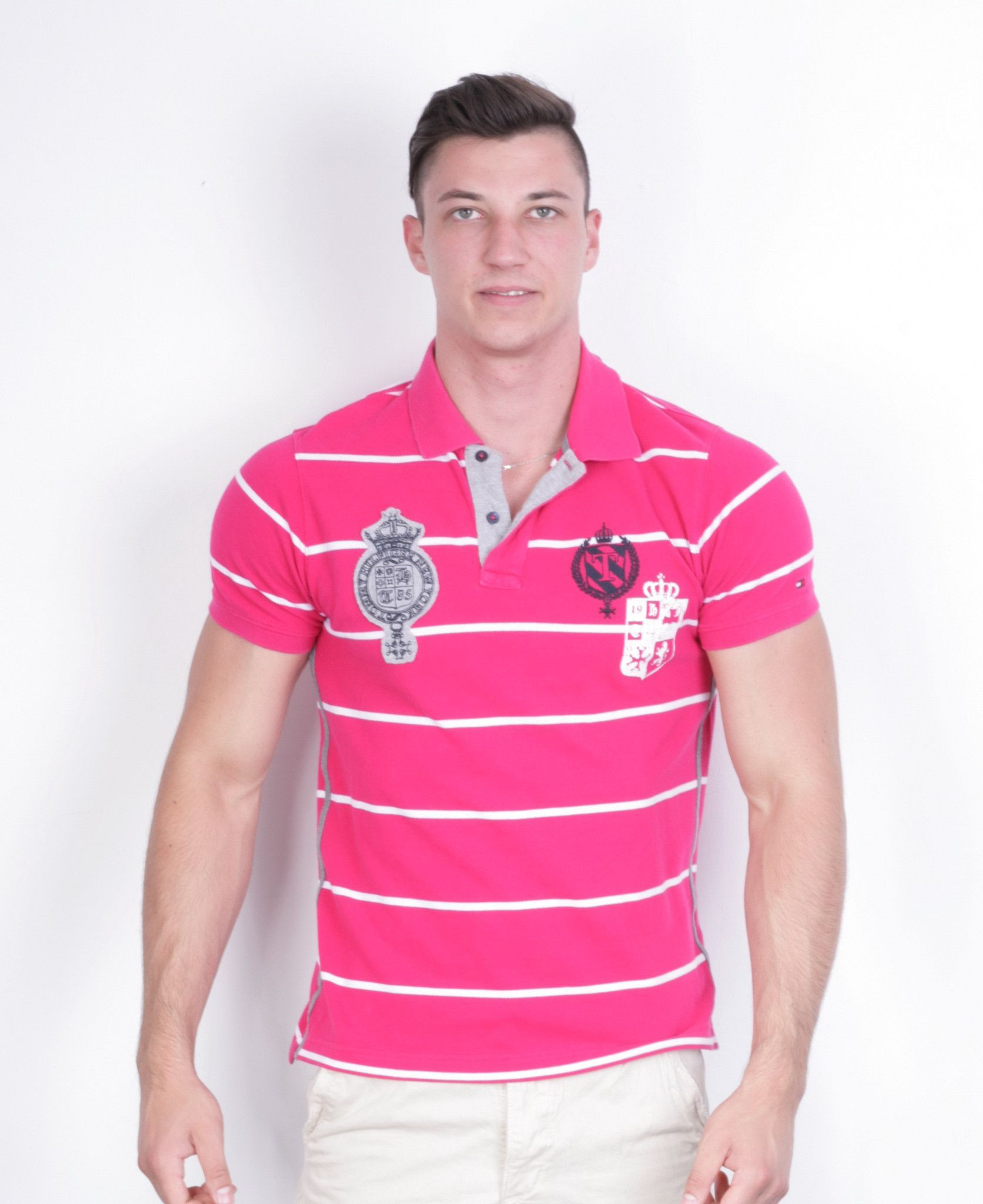 1212e5aa711 Tommy Hilfiger Mens L Polo Shirt Striped Pink Slim Fit Cotton ...