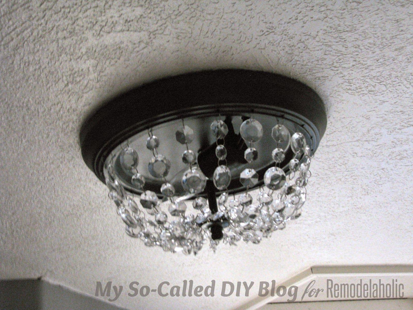 Make A Pottery Barn Knockoff Mia Crystal Strand Flushmount Light   My  So Called DIY