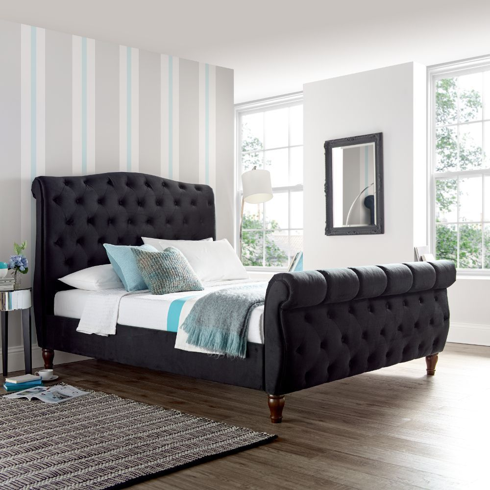 Best Colorado Black Velvet Fabric Sleigh Bed Fabric Sleigh 400 x 300