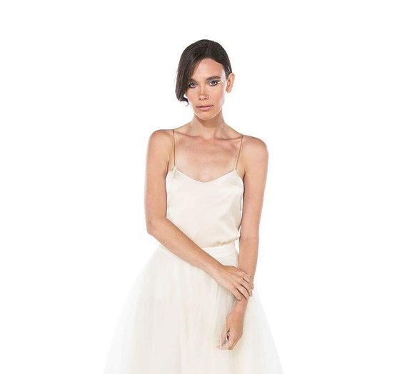 Silk wedding top in champagne / camisole wedding top / Wedding ...