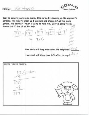 Kidzone Spring Themed Math Word Problems Math Word Problems Word Problems Word Problem Worksheets