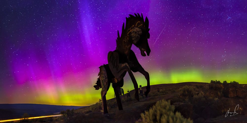 Breathtaking Purple and Green Auroras Leave Photographer Awestruck