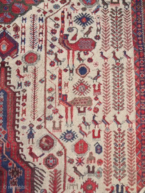 nice nearly antique Afshar rug in perfect condition with cool design ca 1920 s size 160 x 140 cm. Original knotted ends and selvedges. Wool pile cotton foundation, may have some analine ...