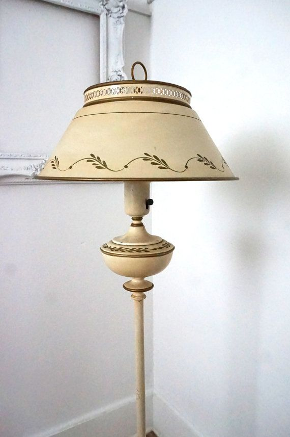 Vintage Ivory Tole Painted Floor Lamp With Metal Shade
