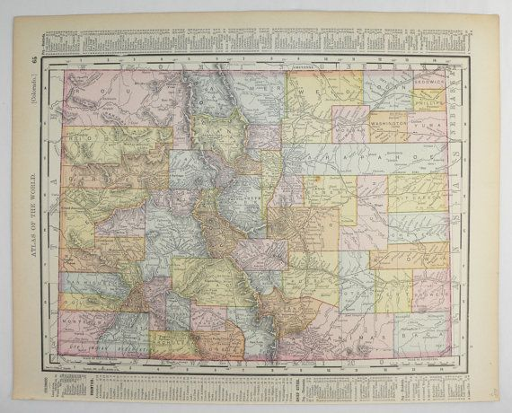 1800s Colorado Map New Mexico Map 1898 Antique Map Colorado NM Map