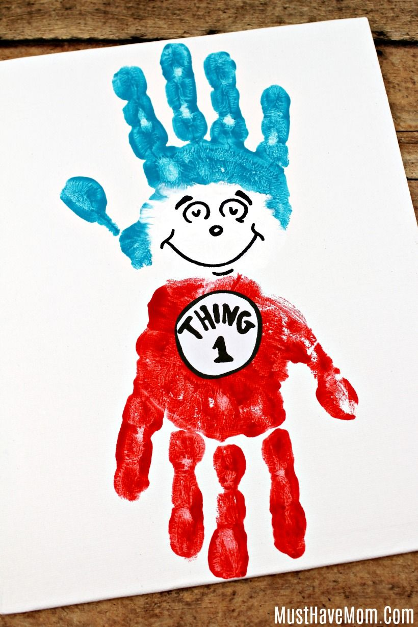 Dr Seuss Crafts Thing 1 And Thing 2 Handprint Painting Must