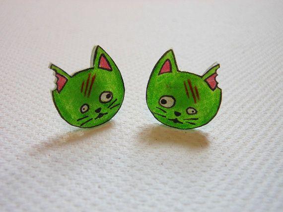 Zombie cat stud earrings by xDonnaxthexDeadx on Etsy, $5.00