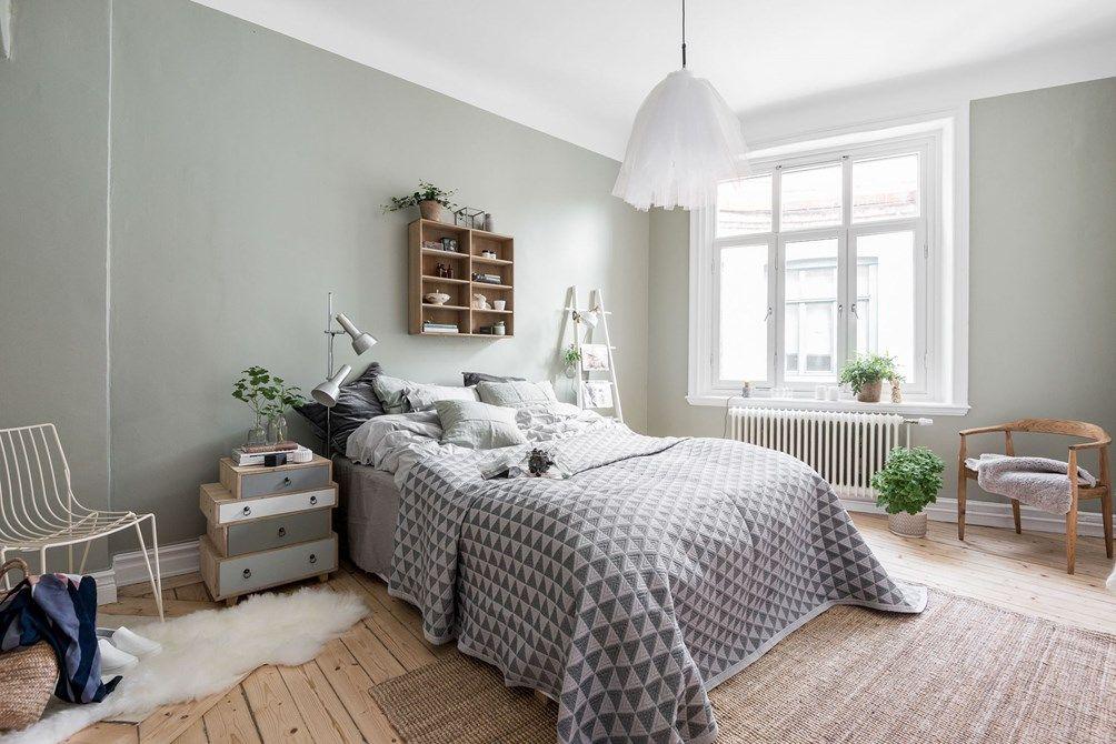 scandinavian bedroom with light grey blue walls bedroom