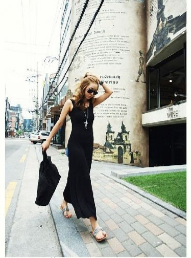 Pure Color Comfortable Backless Loose Maxi Dress Black on BuyTrends.com, only price $10.00