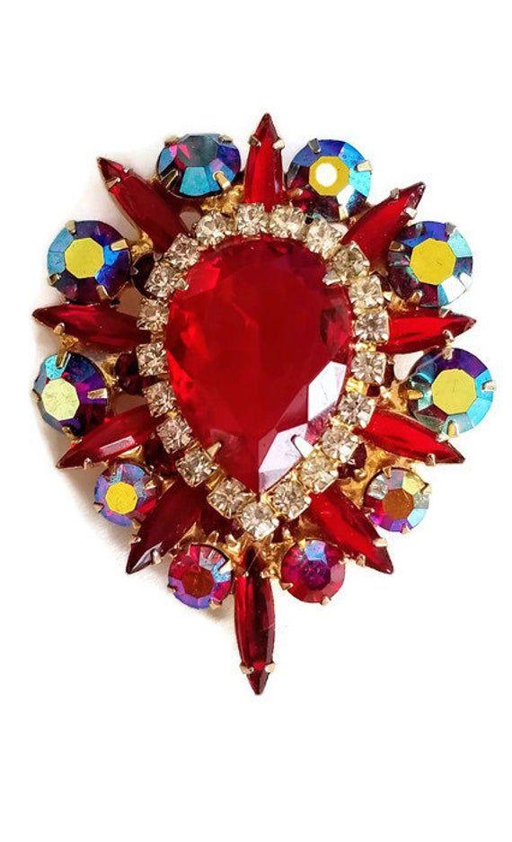 Juliana Red Rhinestone Brooch Pin Pendant, DeLizza and Elster Vintage Rhinestone Jewelry, D&E Jewelry Brooch Pin Pendant