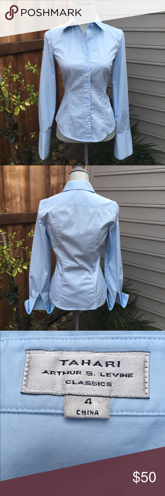 🍀Gorgeous TAHARI Button Down Shirt Cuff Sleeves Gorgeous TAHARI Button Down Shirt w/ Cuff Sleeves. As is. Worn twice. As is. In excellent condition. Cuff links NOT included. Gorgeous under a power suit. Tahari Tops Button Down Shirts