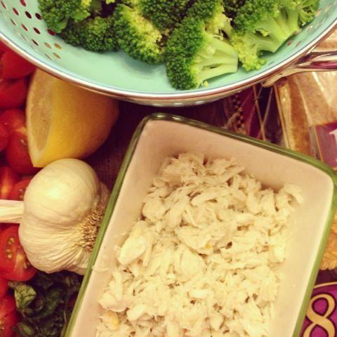 Crab & Broccoli White Flat Bread