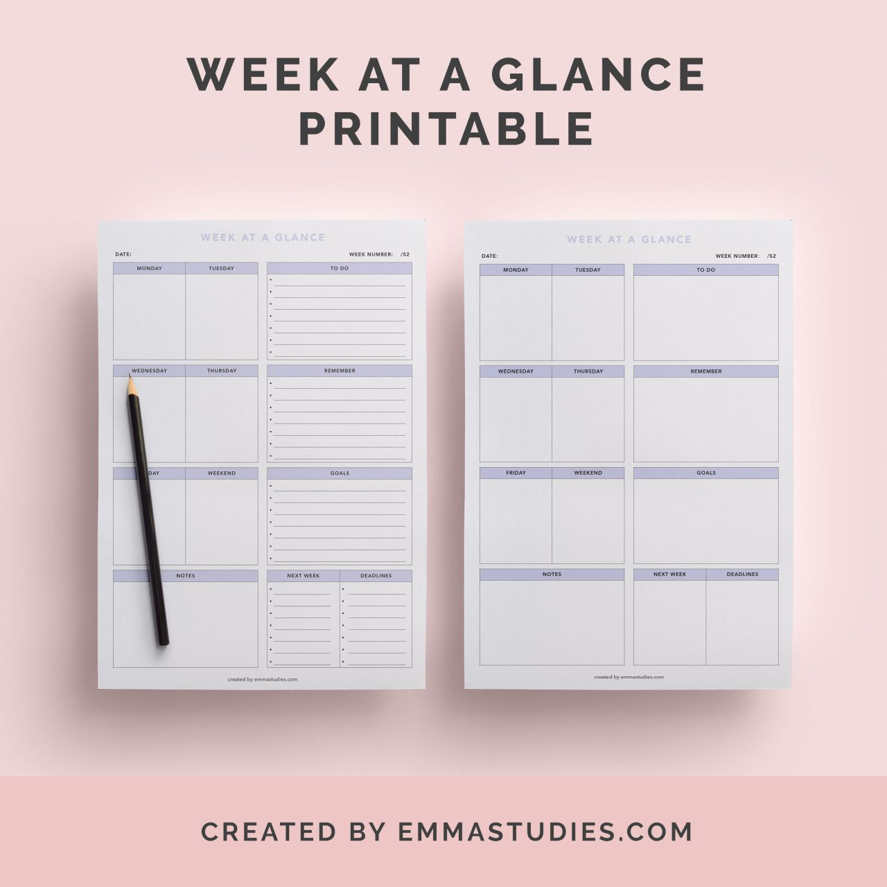 week at a glance weekly schedule free printable for download from emmastudies the studyblr. Black Bedroom Furniture Sets. Home Design Ideas