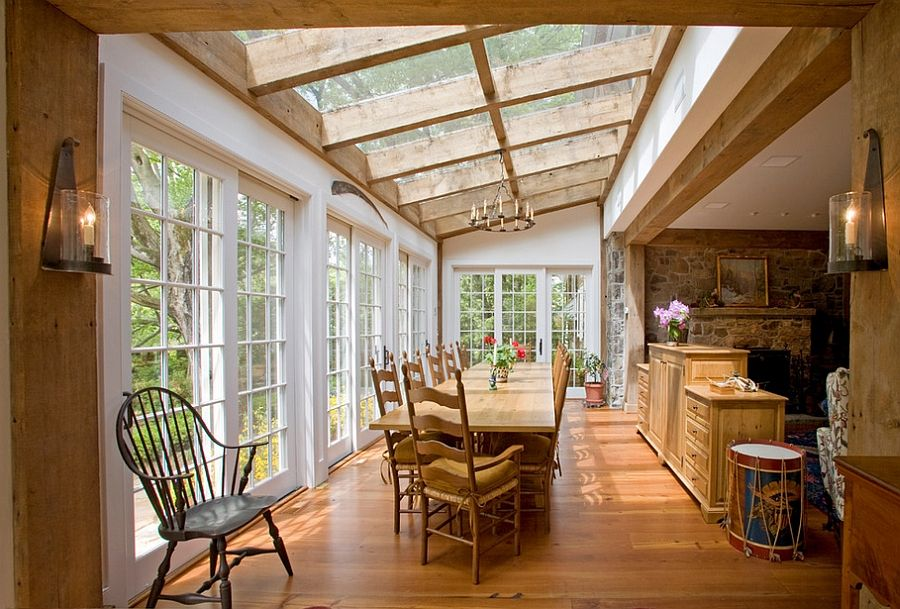 27 Dining Rooms With Skylights That Steal The Show Farmhouse Dining Room Table Home Bar Designs Rustic Fireplaces