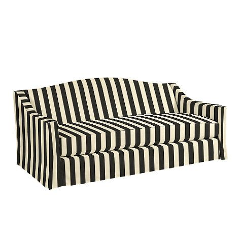 Riviera Indoor Outdoor Sofa Slipcover In Canopy Stripe Black And Sand Sunbrella Made To Order Fabrics