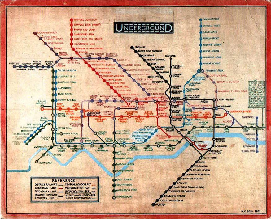 harry beck british first version of his iconic london underground tube map uk