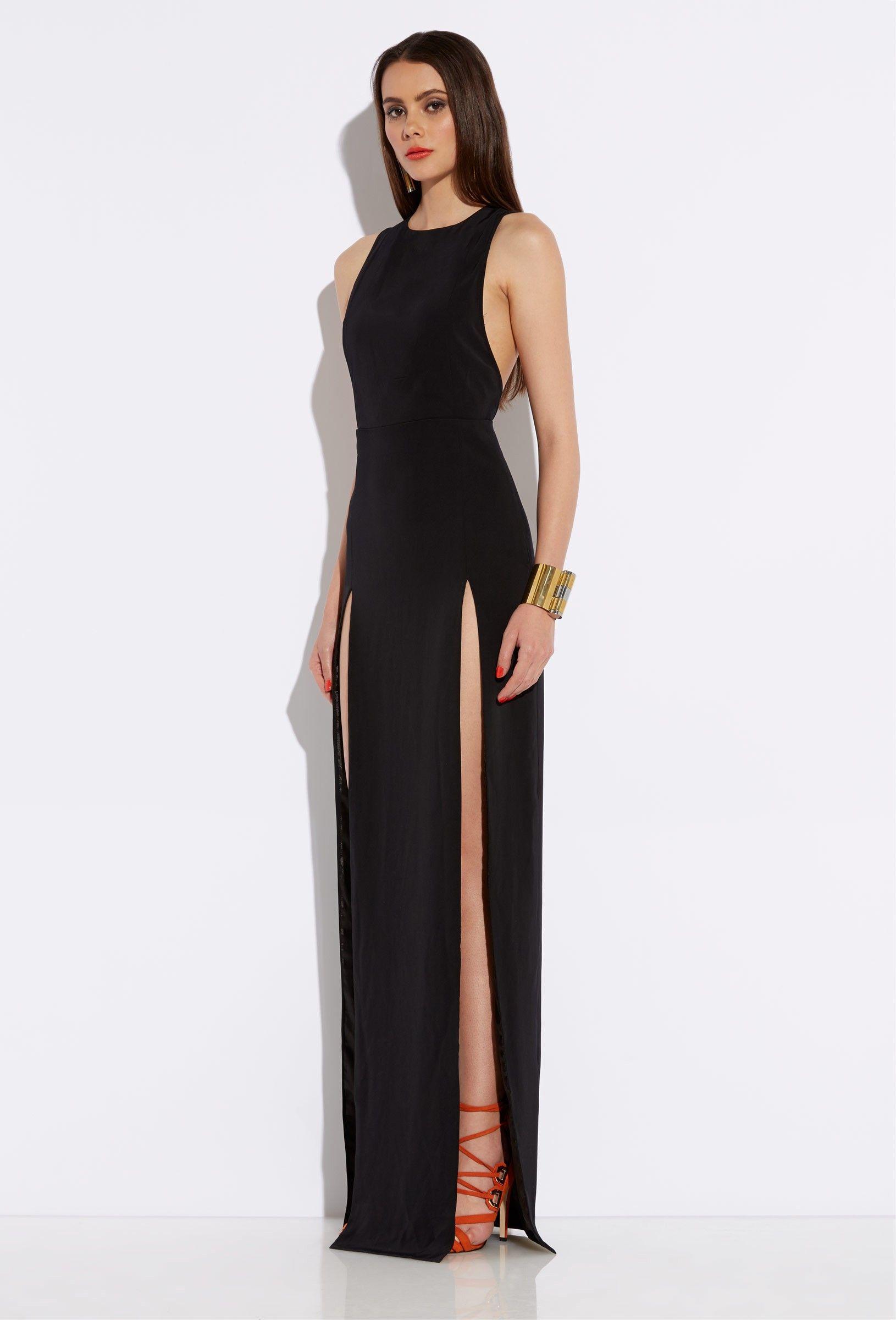 Lexi Black High Double Slit Maxi Dress | AQ/AQ | ( fashion ...