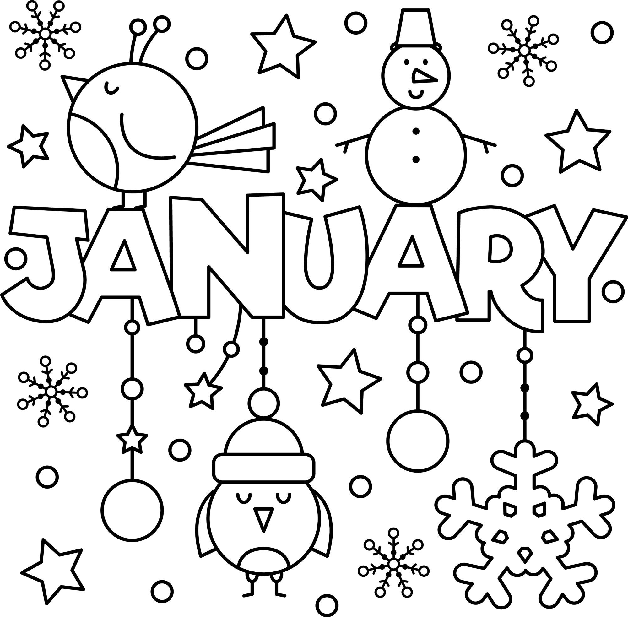 Happy New Year January Colouring Page