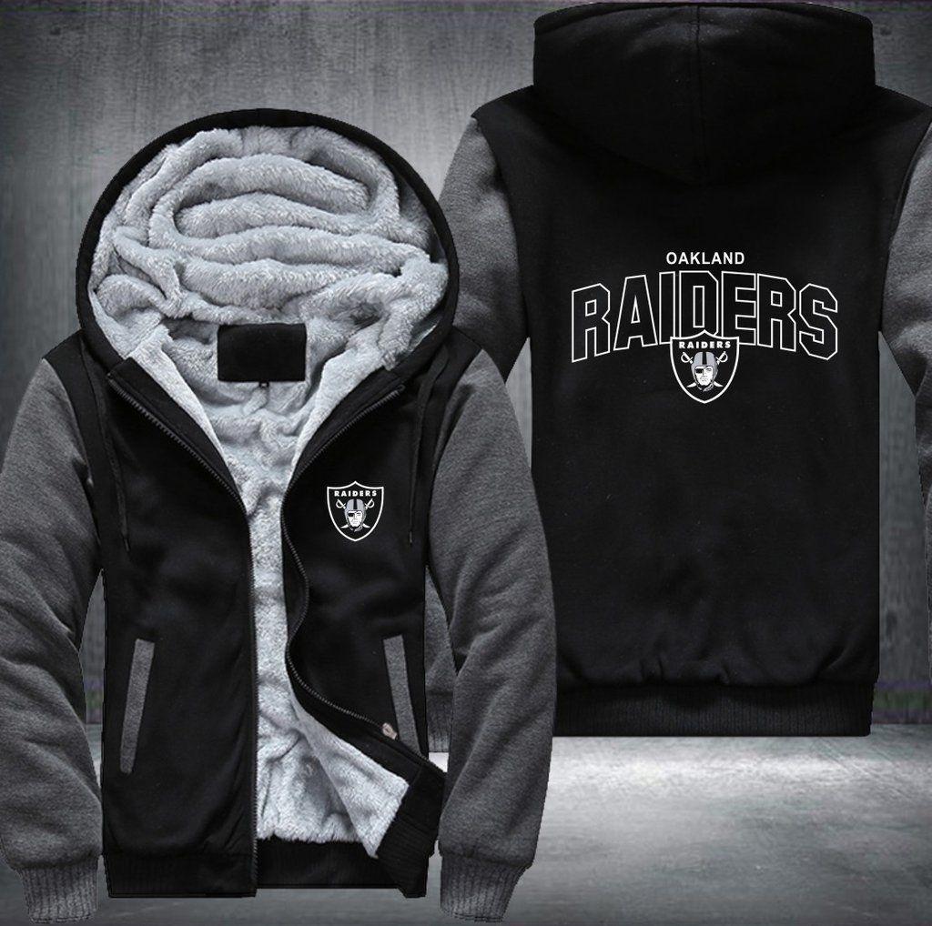 Oakland Raiders Hooded Hoodie Zip Front jacket coat women men warm Sweatshirt