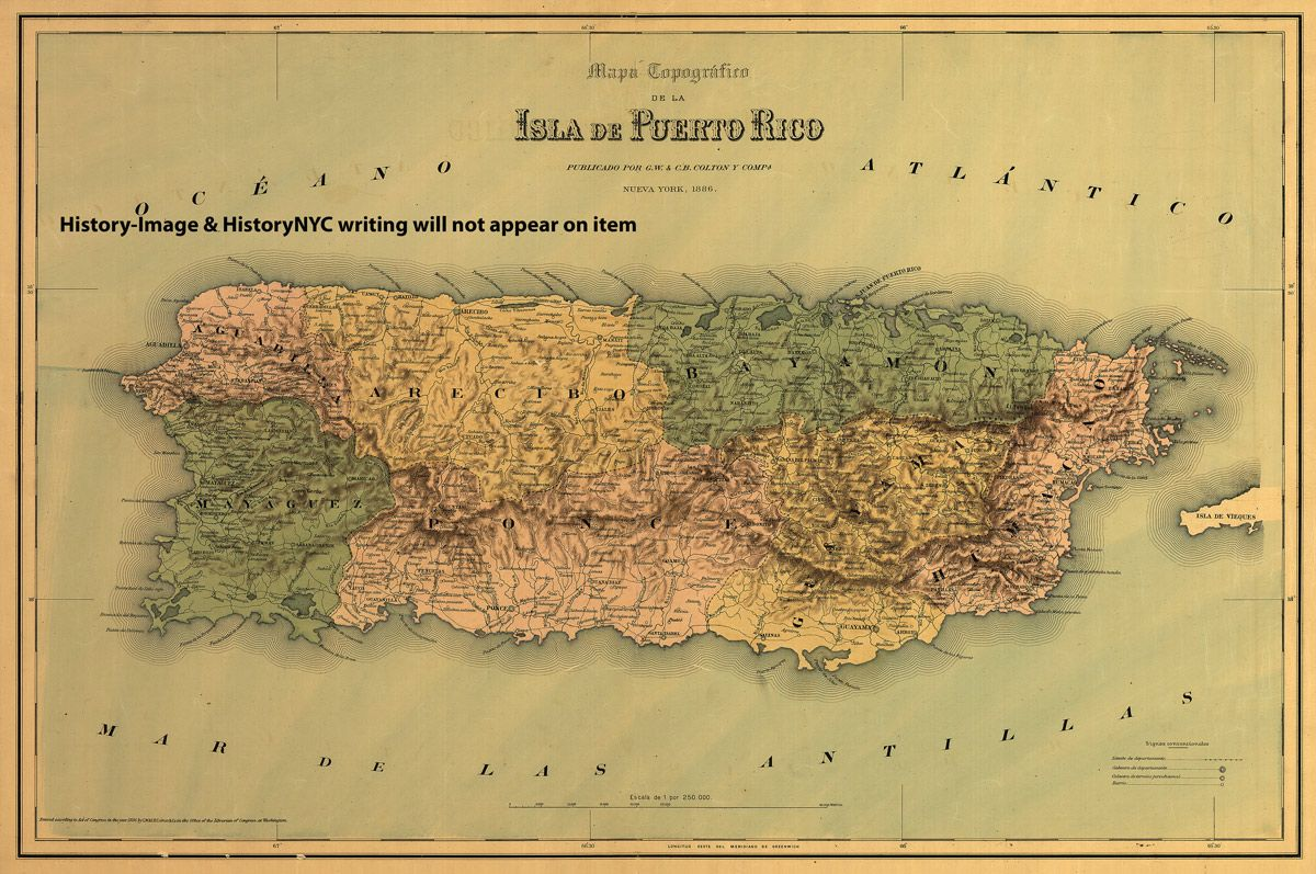 This is a large and detailed topographical map of the island Puerto